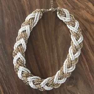 Gold & White collar necklace